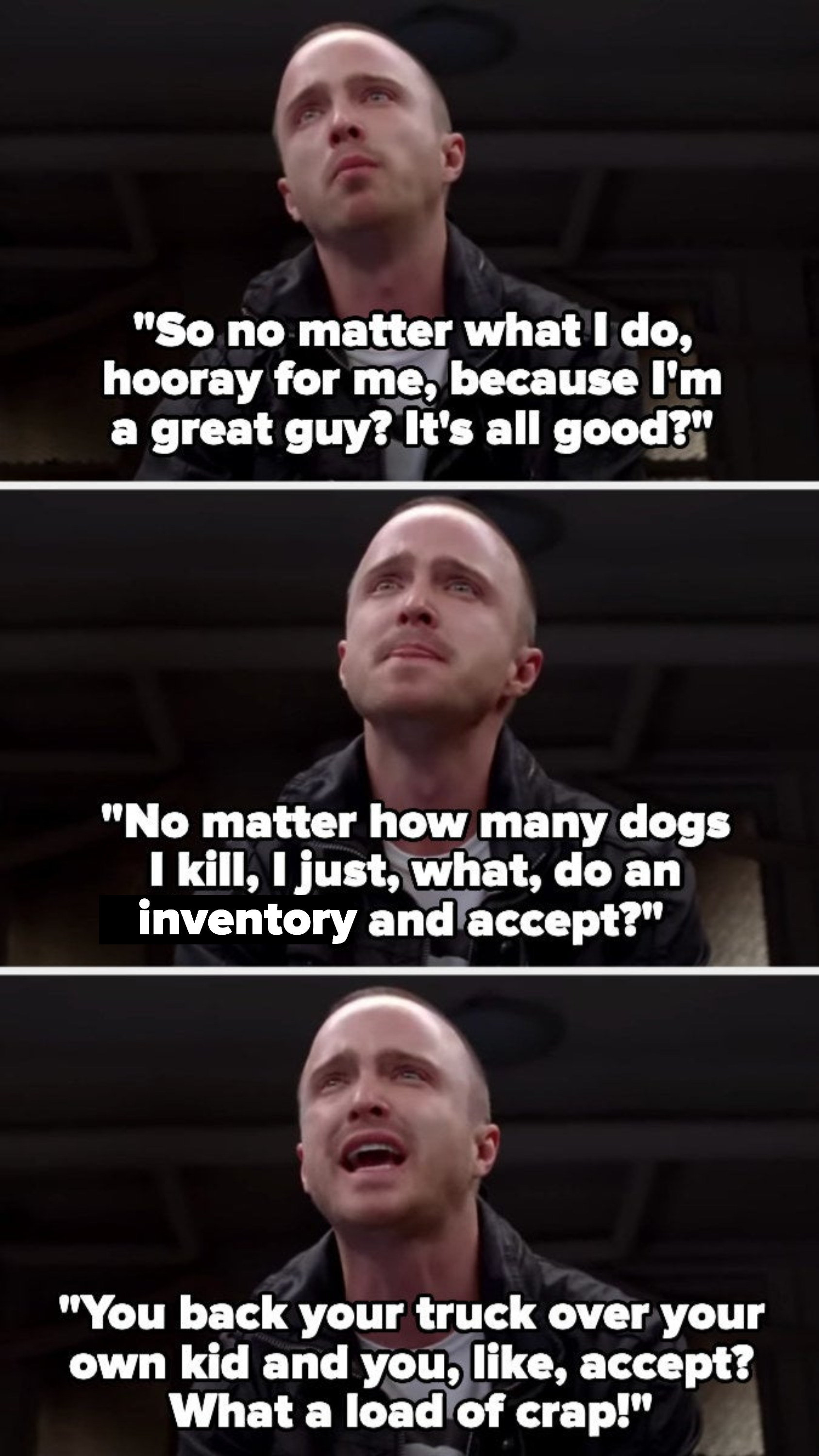 """Jessie asks if then it doesn't matter what he does or how many dogs he kills, because if he's a good guy and """"accepts"""" it it's okay, then calls that a load of crap"""