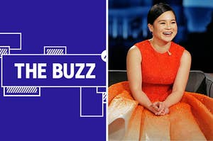 Splitscreen of purple graphic with THE BUZZ in white letters on the left side and a photo of Kelly Marie Tran on the right side (CREDIT: GETTY)