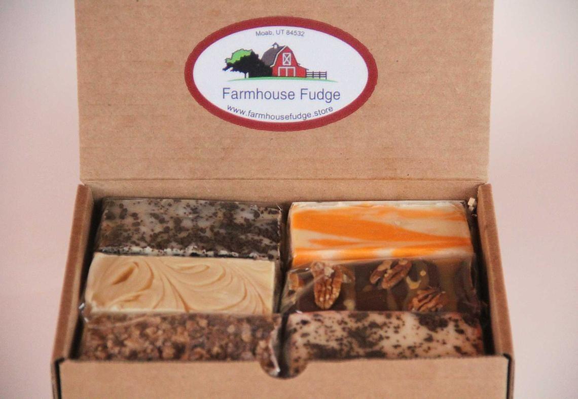 Six blocks of fudge inside a box