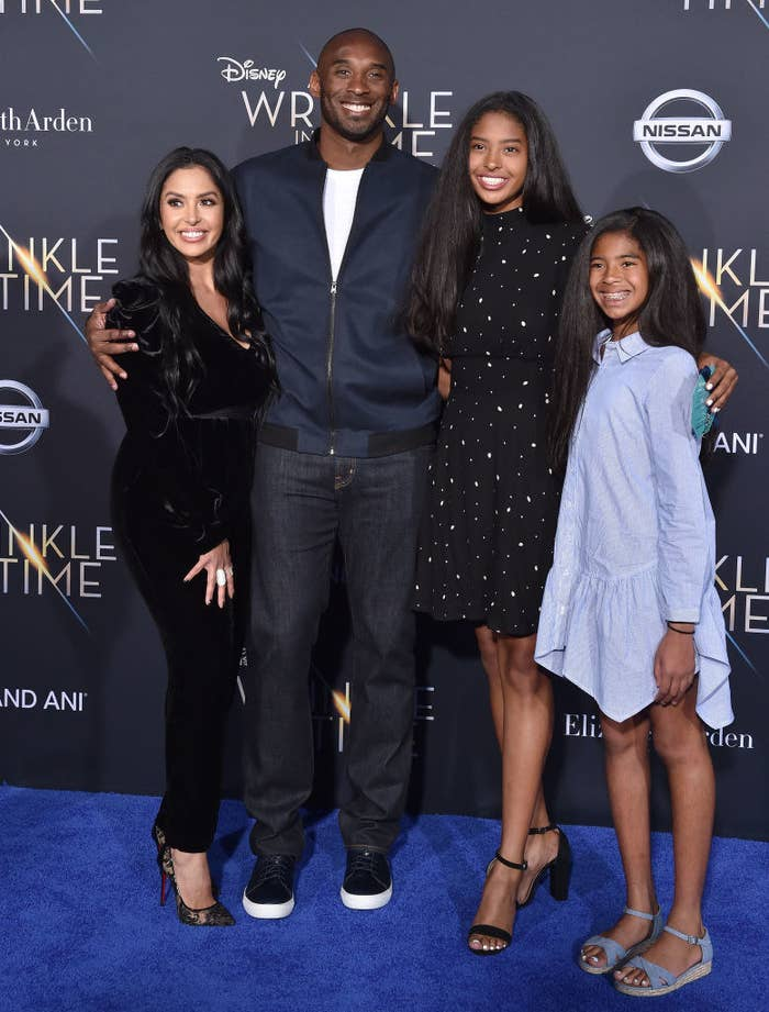 (L-R) Vanessa Laine Bryant, former NBA player Kobe Bryant, Natalia Diamante Bryant and Gianna Maria-Onore Bryant arrive at the premiere of Disney's 'A Wrinkle In Time' at El Capitan Theatre on February 26, 2018 in Los Angeles, California