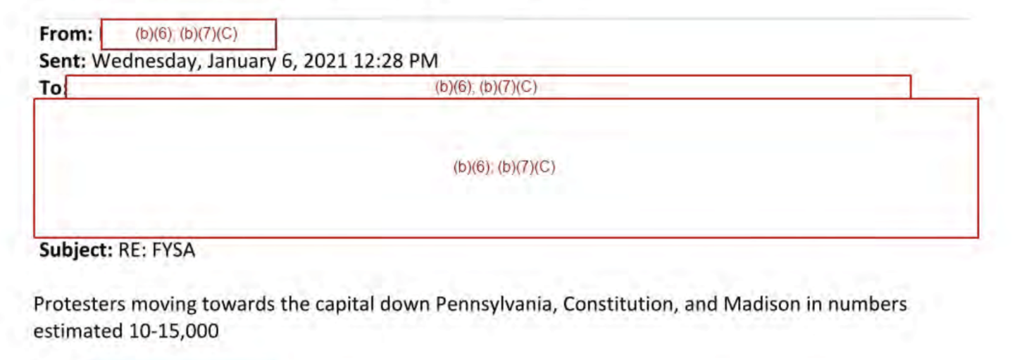 "An email that reads ""Protesters moving towards the capital down Pennsylvania, Constitution, and Madison in numbers estimated 10-15,000,"" sent at 12:28 PM"