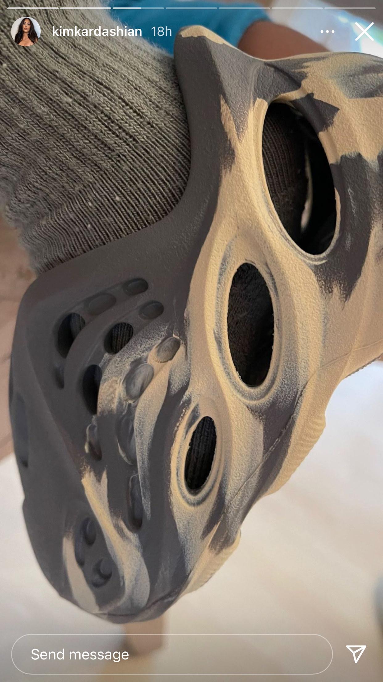A close-up view of a Yeezy Foam Runner shoe
