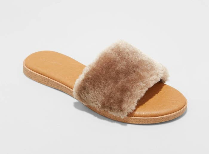 the faux fur slides in brown