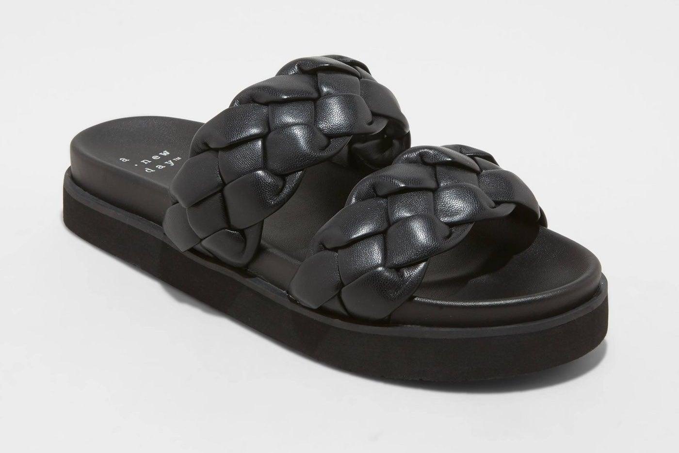 Black braided sandals
