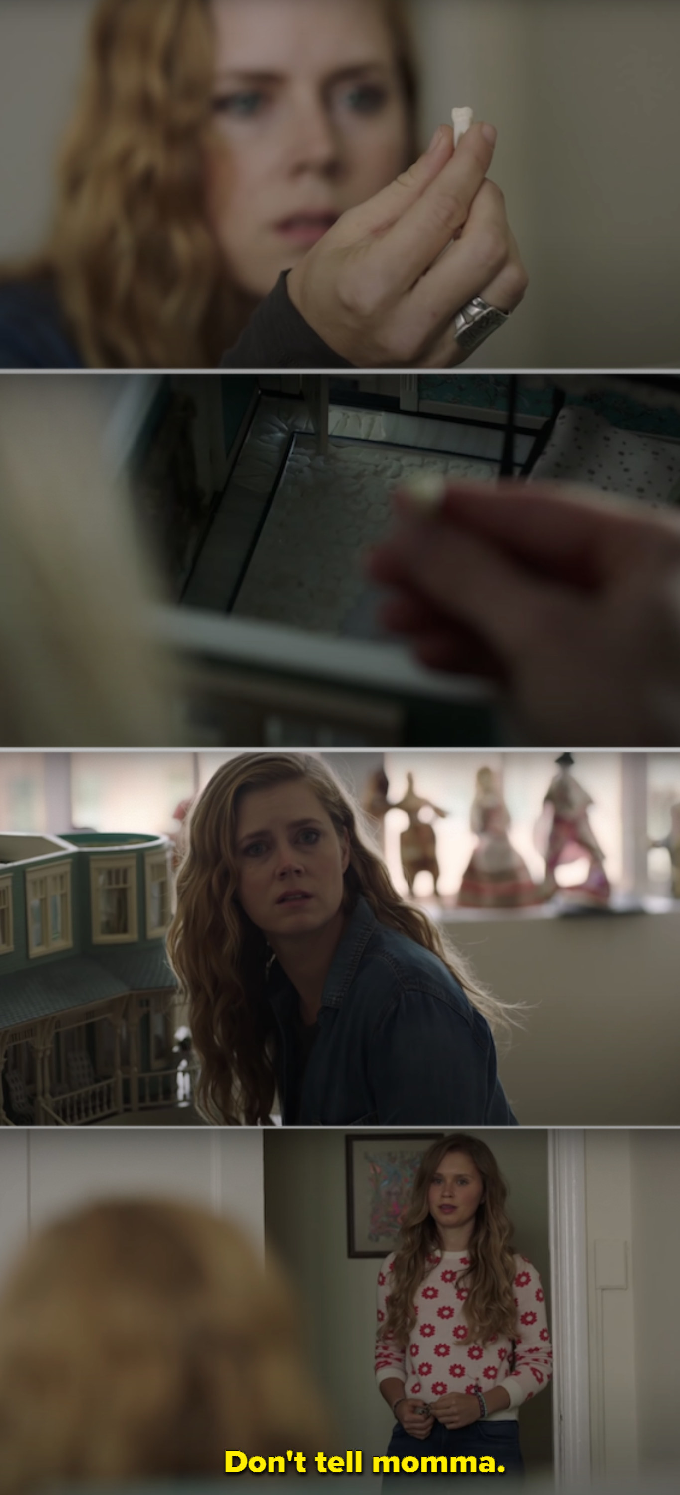 Amy Adams finding a tooth in her sister's dollhouse