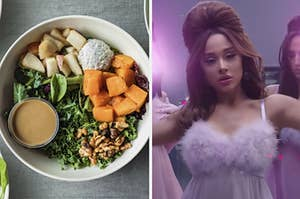 "A bowl of greens, sweet potato, rice, and chicken and Ariana Grande in her music video ""34+35."""