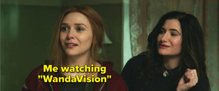 """Wanda smiling and Agnes looking at her with the caption, """"Me watching 'WandaVision'"""" on Wanda"""