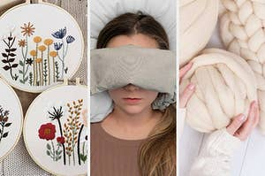 embroidery set, person wearing an eye cushion, chunky yarn kit
