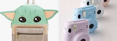 L: Mini Baby Yoda backpack R: Row of Instax Mini instant film cameras