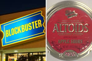 A Blockbuster store next to a pack of sour Altoids