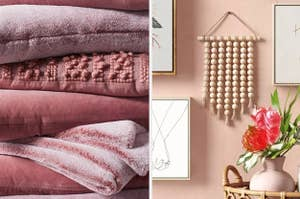 Fuzzy pink throw pillows and a beaded wall hanging