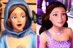 Erica from princess and the pauper on the left and kiera from princess and the popstar on the right