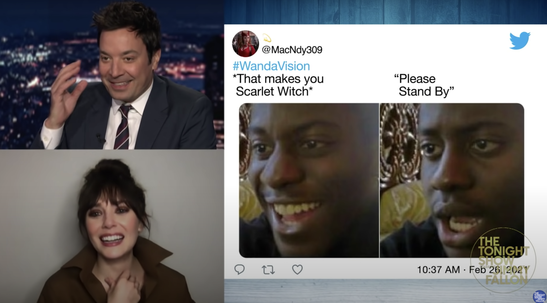 "Lizzie laughing at a ""WandaVision"" meme"