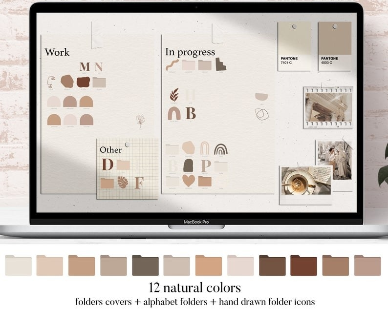 A desktop screen with beige, brown, and pinkish tones in a minimalist design