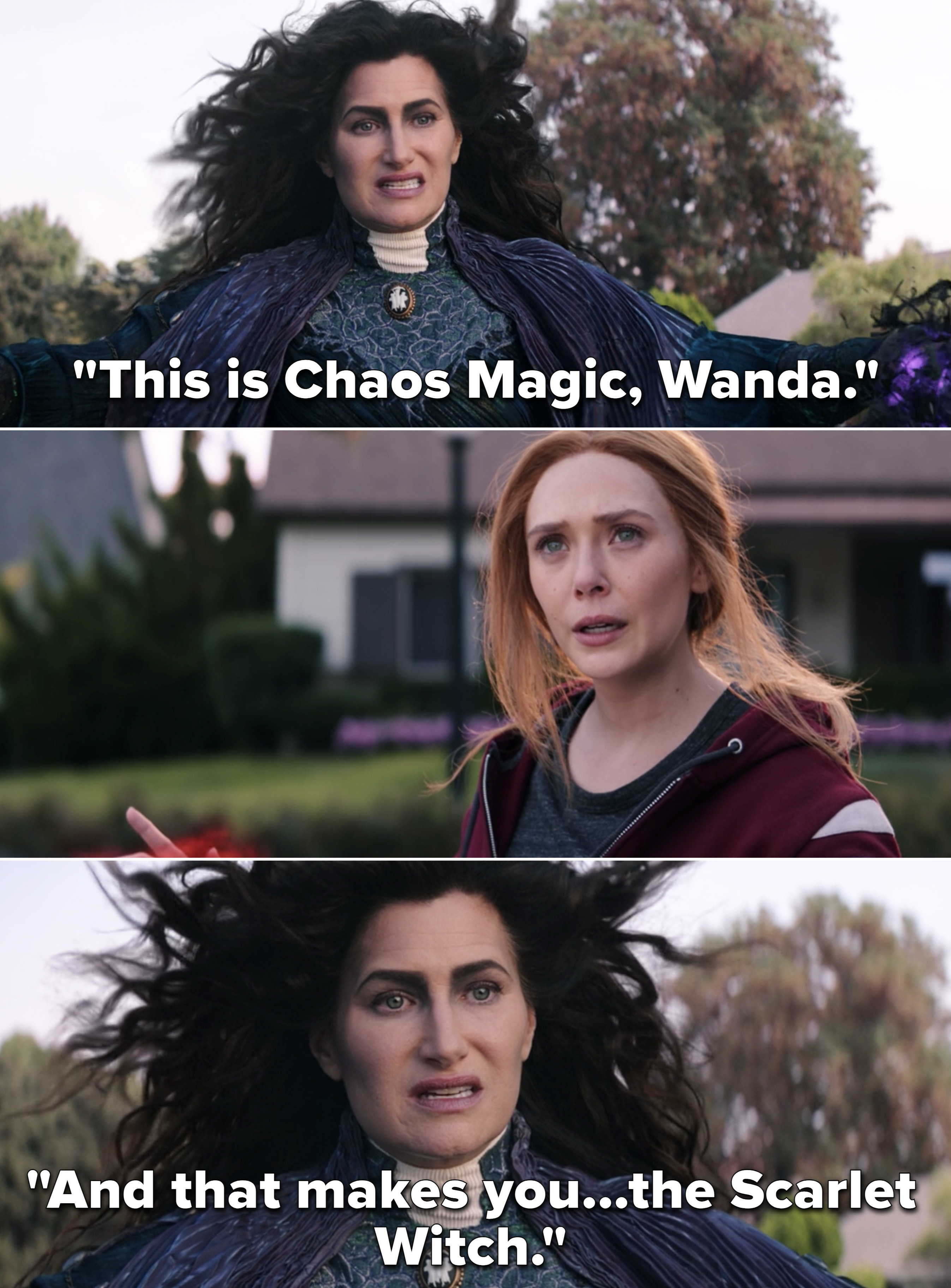 """Agatha telling Wanda, """"This is Chaos Magic, Wanda. And that makes you...the Scarlet Witch"""""""