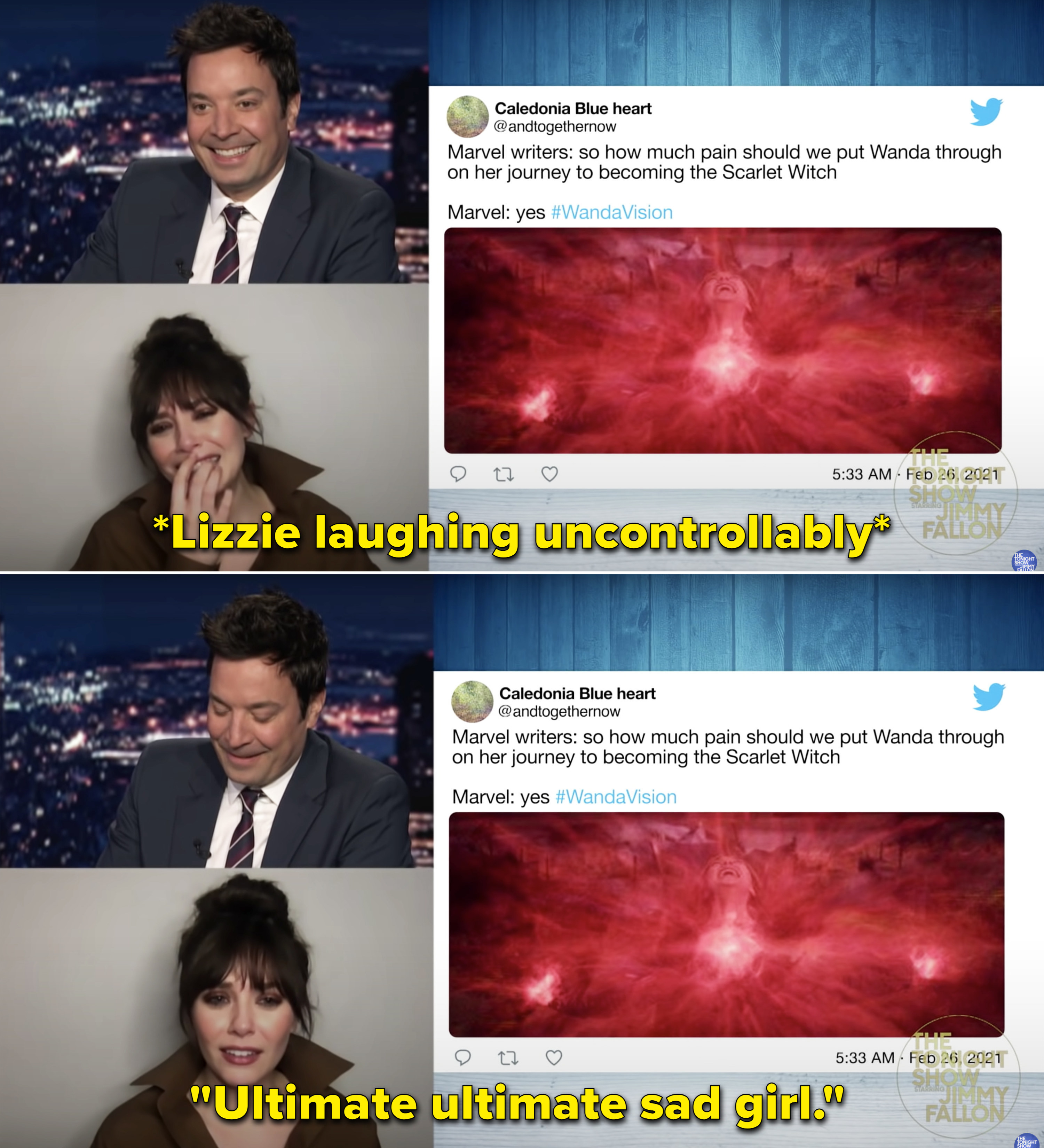 """Lizzie laughing uncontrollably over a meme about the Marvel writers cause Wanda pain. And Lizzie saying, """"Ultimate ultimate sad girl"""""""