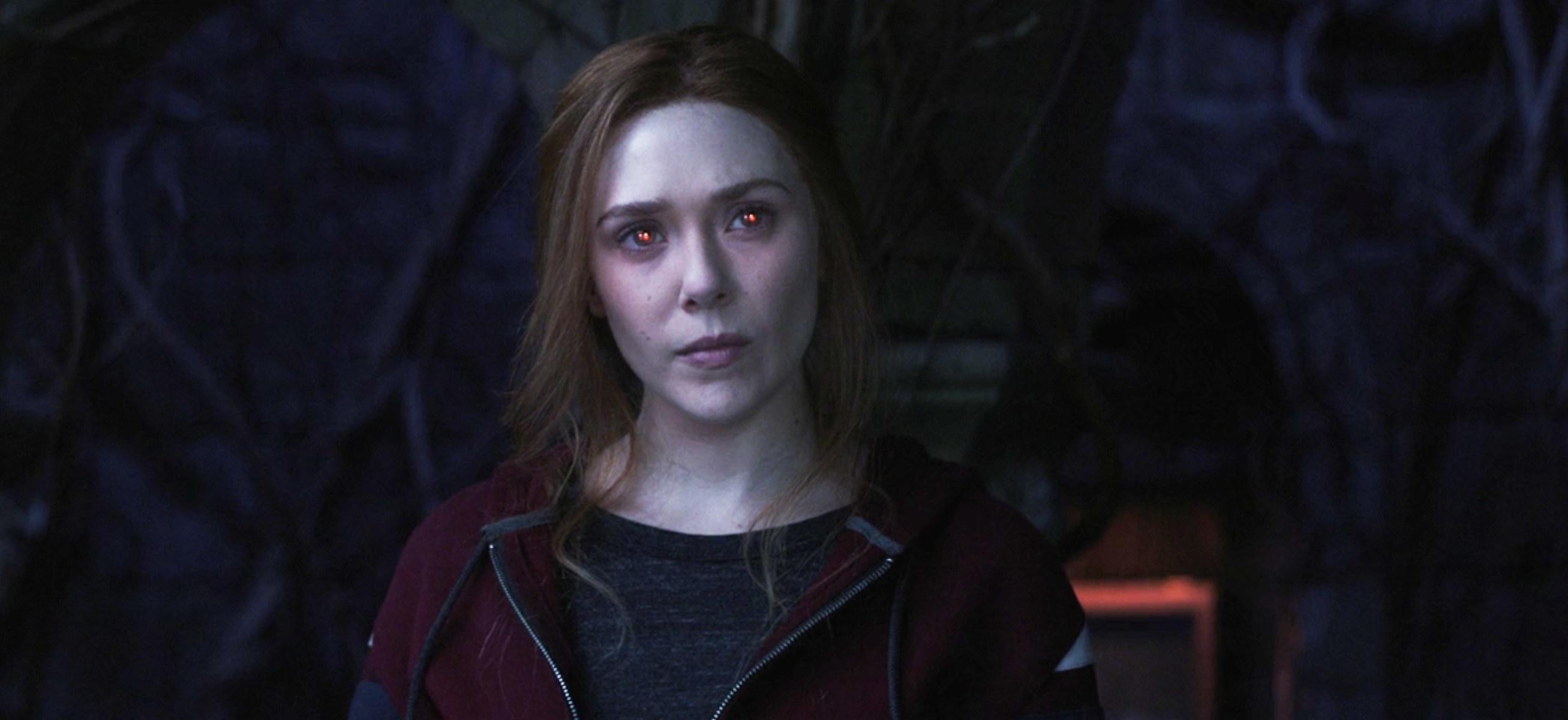 "Wanda's eyes glowing red in ""WandaVision"""