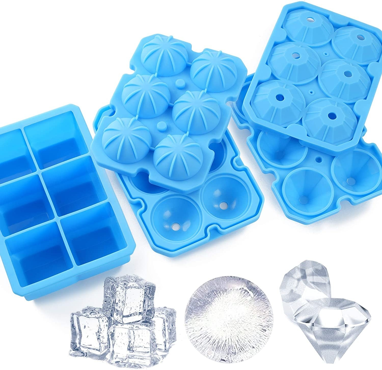 the three trays with examples of the ice they make underneath
