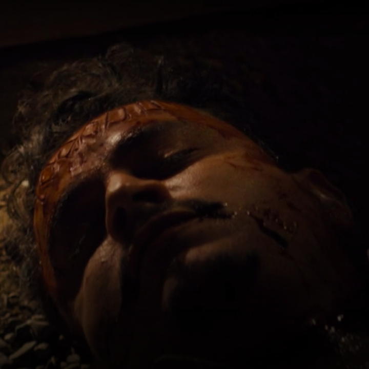 "Man lying dead in ""Snowfall"""