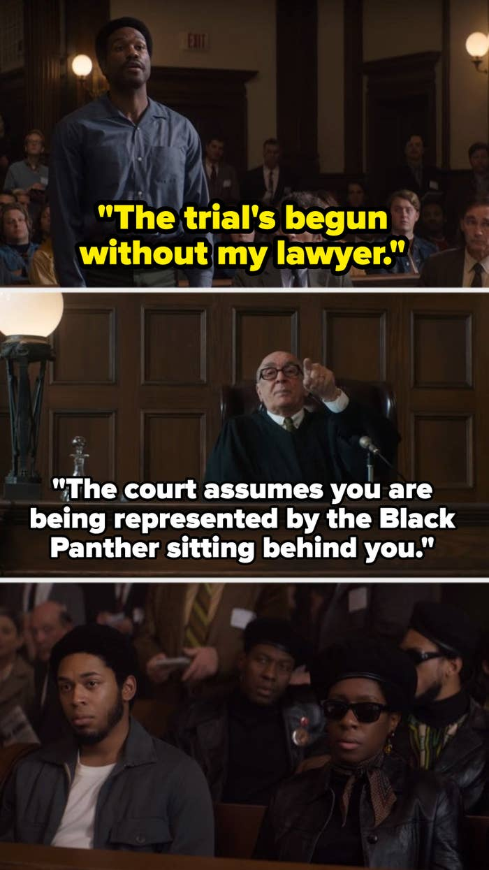 Bobby Seale tells the judge the trial's started without his lawyer, and the judge makes a racist response.
