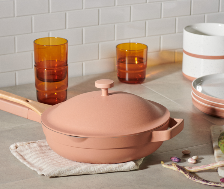 A pink pan on a countertop