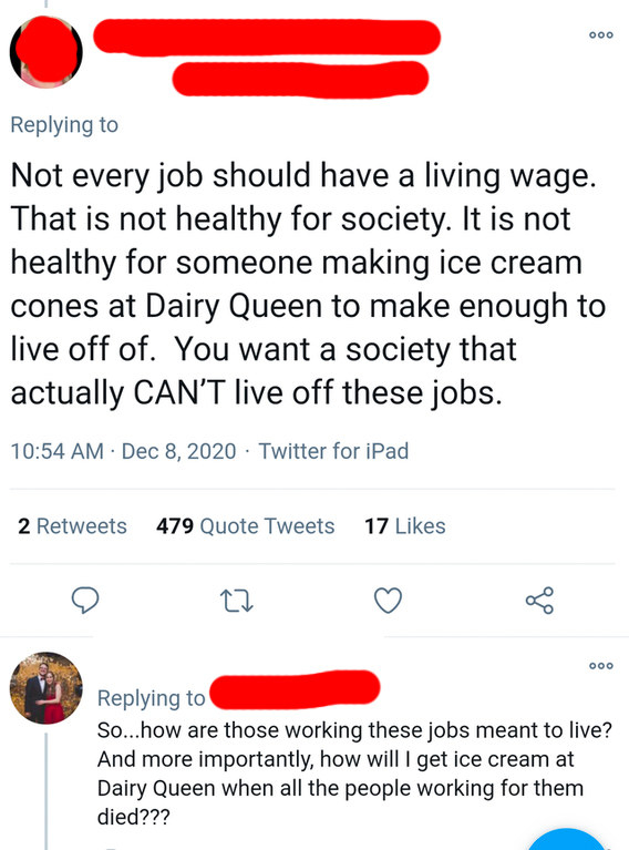 """""""Not every job should have a living wage; that's not a healthy society""""; response: """"So...how are those working these jobs meant to live?"""""""