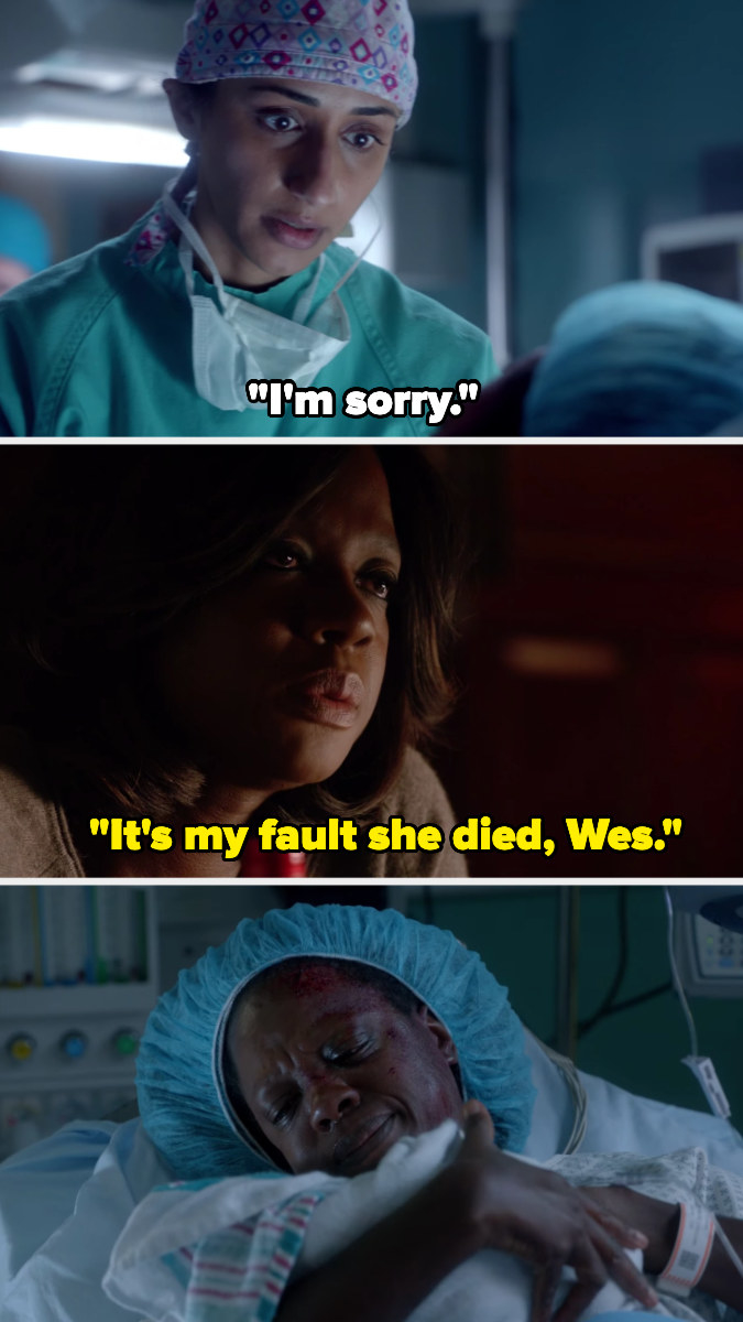 the nurse tells Annalise she's sorry, then Annalise holds her baby crying — later, she tells Wes it's her fault the baby died