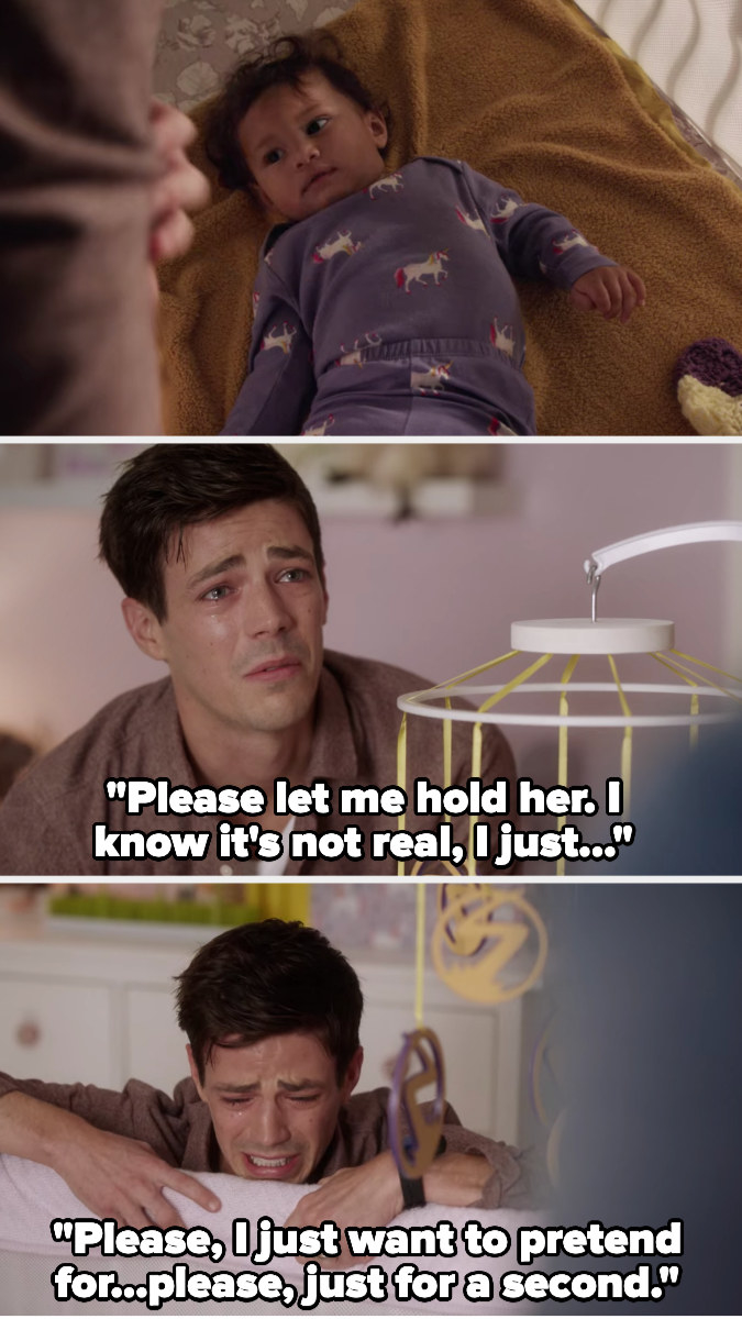 Barry tries to pick up his daughter but his arms go through her. He begs to be able to hold her, even though he knows it's not real, because he wants to pretend