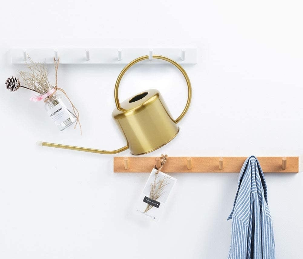 the watering can hanging on a hook