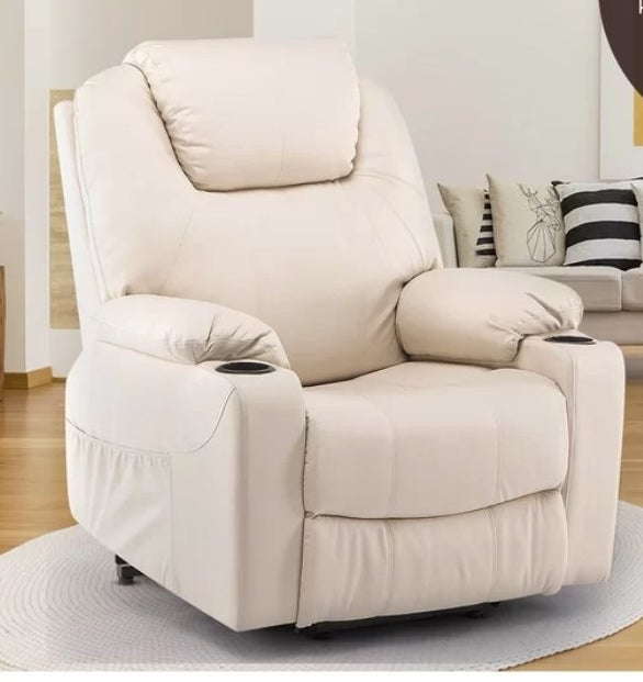 Beige faux leather reclining massage chair