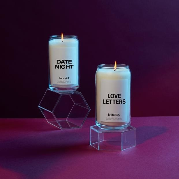 """set of candles with labels that say """"date night"""" and """"love letters"""""""