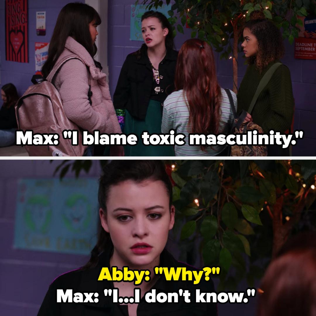 Max says she blames toxic masculinity