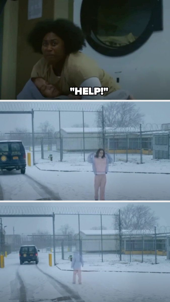 Taystee finds Tiffany's body and screams help, and her body is taken away — we then see Tiffany walking in the snow before fading away