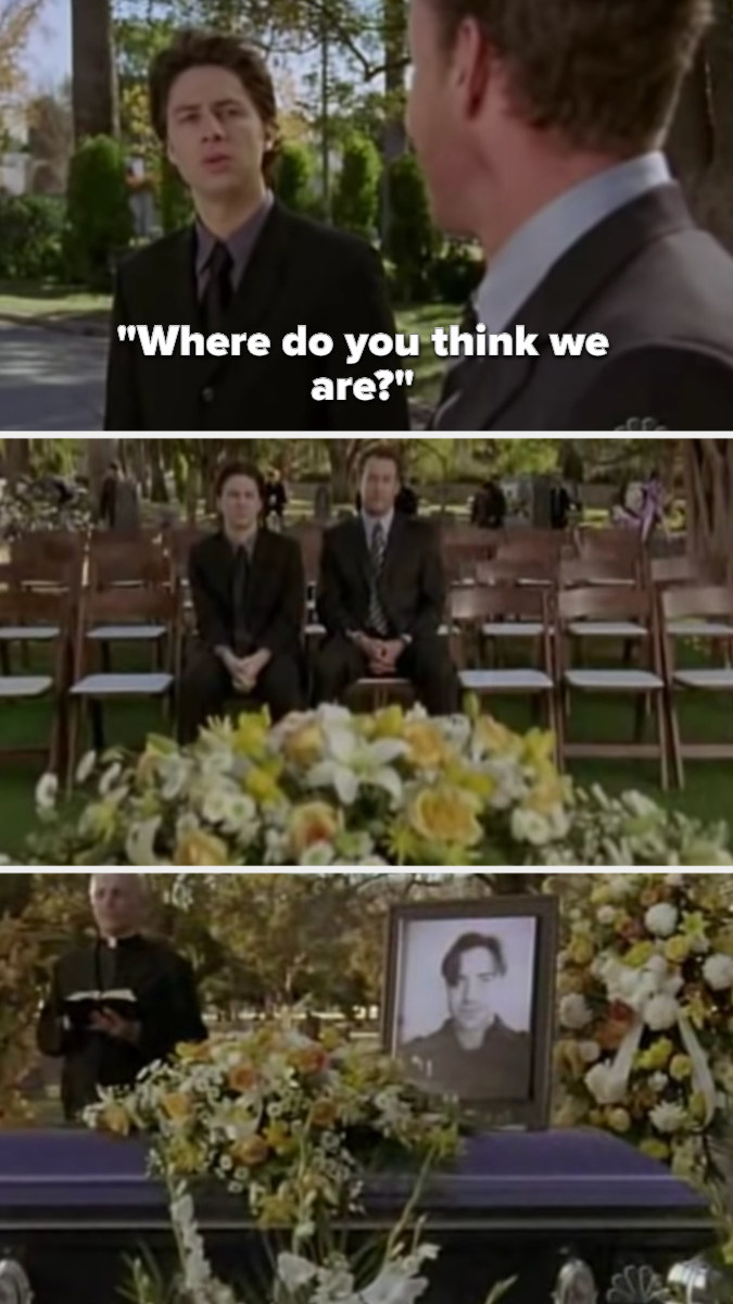 JD asks Dr. Cox where he thinks they are, then they walk across the graveyard to Ben's funeral