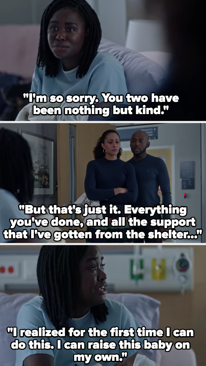 Eve tells Rome and Regina that she's sorry, and they've been nothing but kind, but all the support has made her realize she can raise the baby on her own