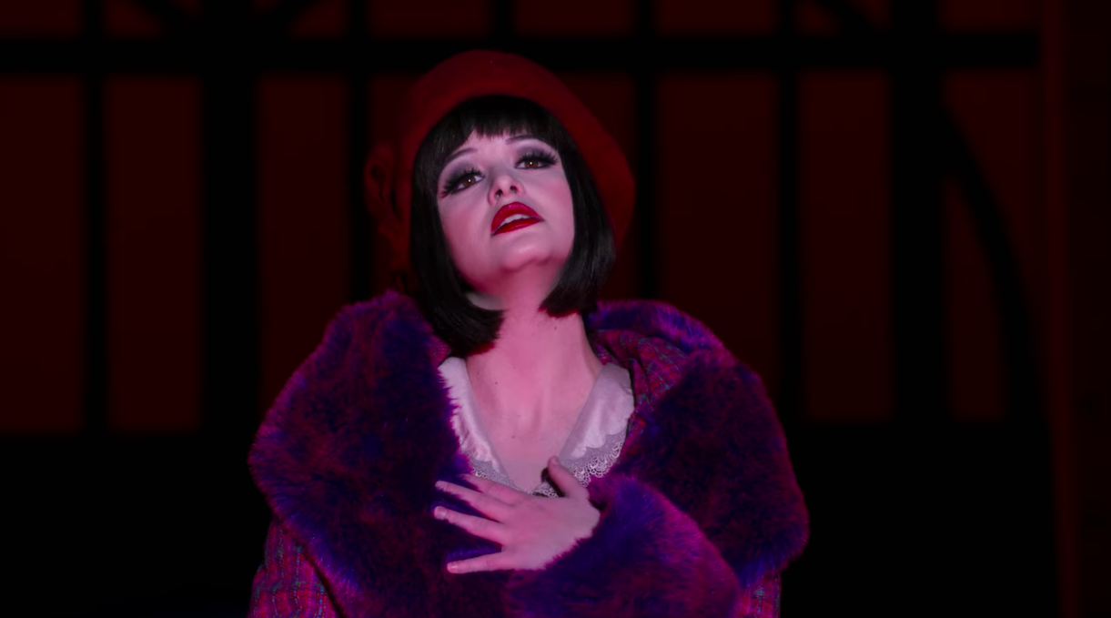 Max performing in the lead musical in cabaret wig and fur coat