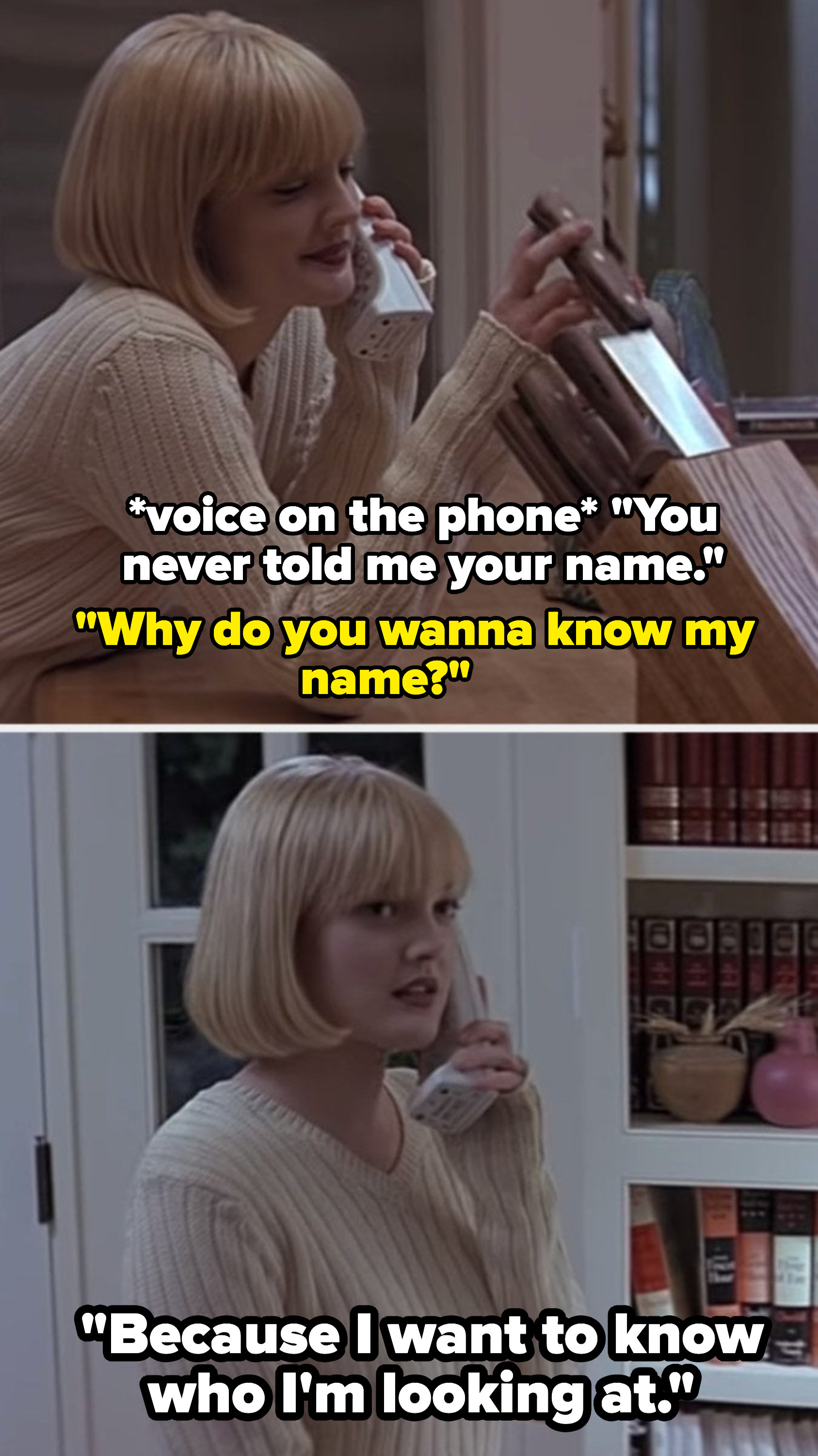 Drew Barrymore talking to the Scream serial killer on the phone