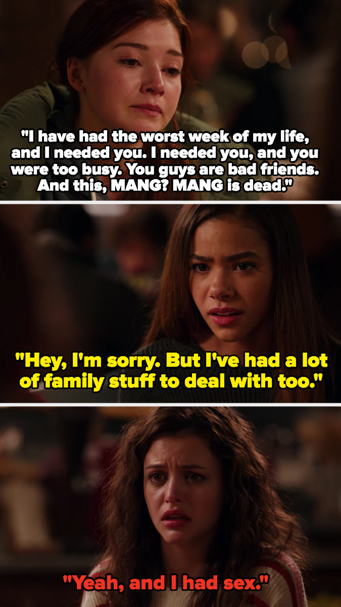 Abby and Ginny are ranting about their family problems and fighting, Max adds that she had sex