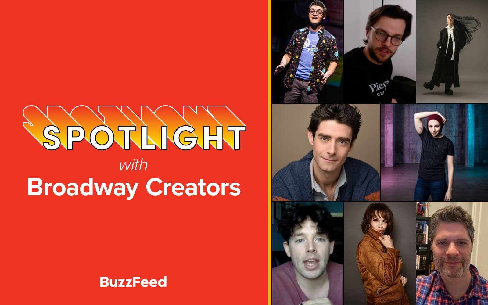 """""""Spotlight with Broadway Creators"""" featuring photos of numerous Broadway artists"""