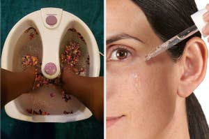 on left, model's feet in foot tub filled with a rose petal soak. on right, model squeezes dropper filled with a hydrating solution onto under-eye skin
