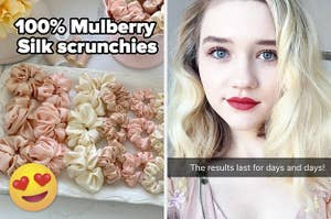 left image: various silk scrunchies, right image: buzzfeed writer maitland after styling hair with heat brush