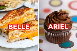 "On the left, a grilled cheese sandwich cut in triangles labeled ""Belle,"" and on the right, a chocolate cupcake labeled ""Ariel"""