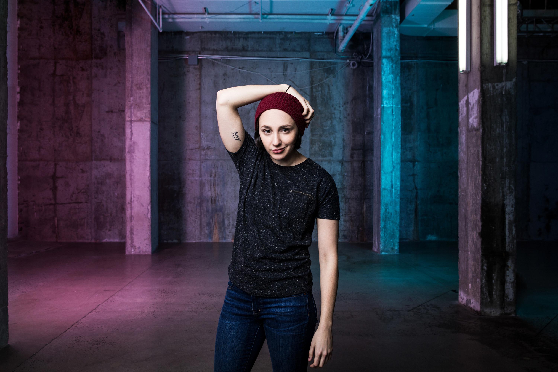 Lauren posing with her arm on her head
