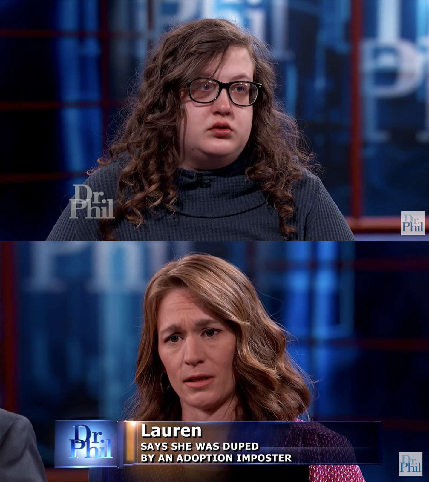 "Two women on the Dr Phil program: Gabby, who wears glasses and a waffle print sweatshirt, and Lauren, whose chyron reads ""says she was duped by an adoption imposter"""
