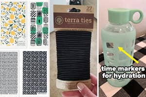 Eco-friendly dishcloths, hair ties, and a glass water bottle
