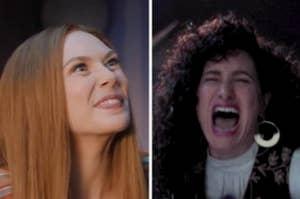 Wanda smiling and Agatha laughing