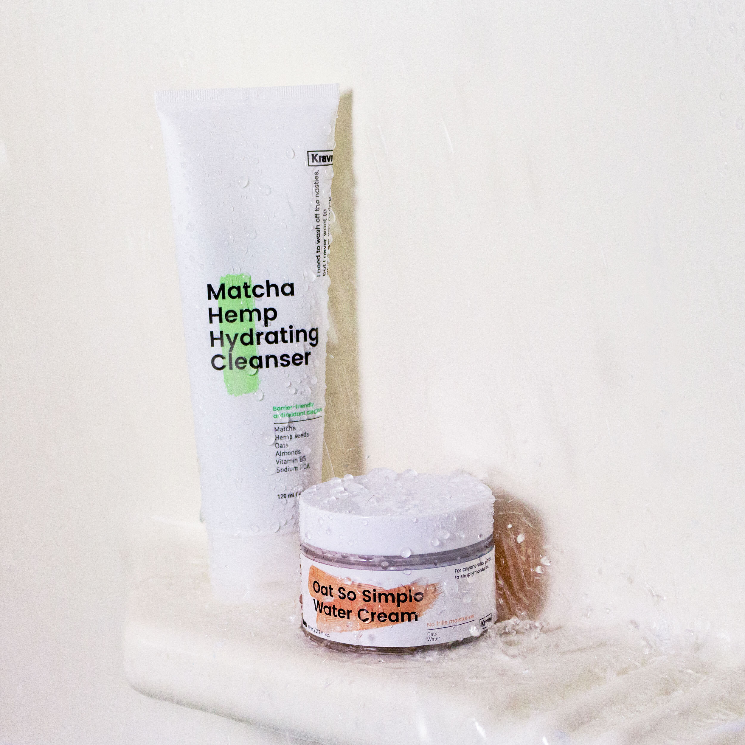 The tube of cleanser and jar of cream