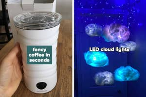 on left reviewer photo of white milk frother and on LED cloud lights