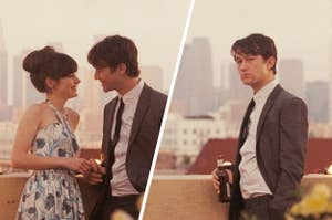 A couple on a rooftop looking intimate and then them broken up and the guy looking sad