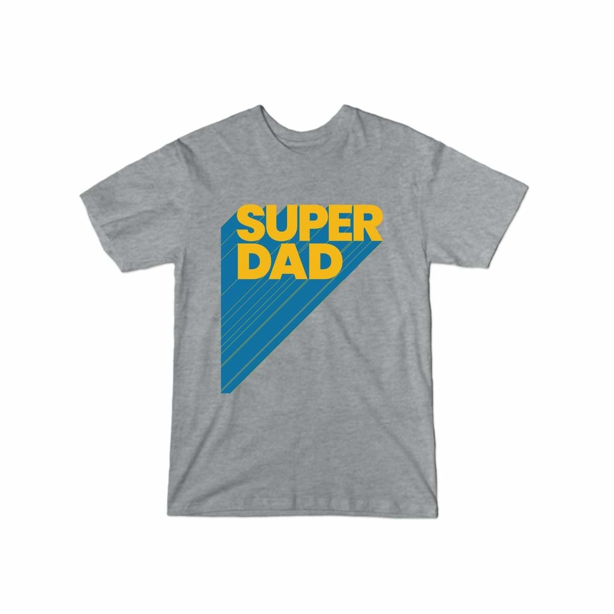 "Gray shirt that says ""super dad"" in yellow and blue print"
